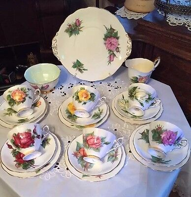 Beautiful Vintage Harry Wheatcroft  6 Famous Roses 21 Piece Tea Set VGC