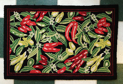 Small Hand Hooked Wool Rug Black/Red/Green Chili Peppers