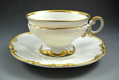 Hutschenreuther BRIGHTON Gold Gilded White Porcelain Demistasse Cup and Saucer