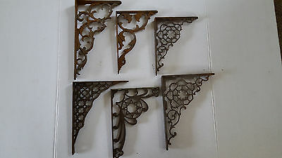 6 Vintage Assorted Cast Iron Shelf Brackets