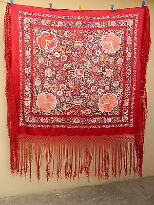Antique Beautiful Chinese Hand Embroidered Silk Piano Shawl Multi Color Ps65