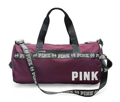 Victorias Secret PINK Gym Bag Duffle Weekender Tote Overnight Black Orchid NEW