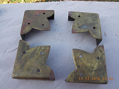 Antique Set of (4) Brass Corners Chamfered EdgesFleur de Lis Style