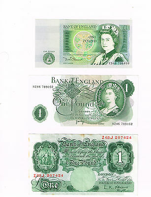 Three different £1 banknotes