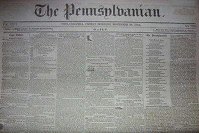 The Pennsylvanian (Phila PA) newspaper, November 29 & 30, 1844