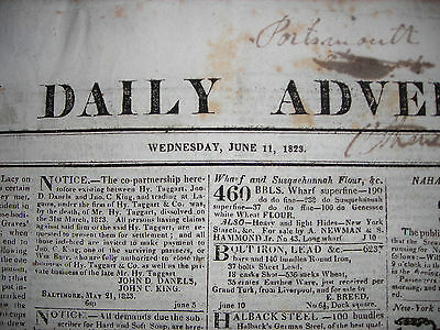 Boston Daily Advertiser newspaper, June 11, 1823