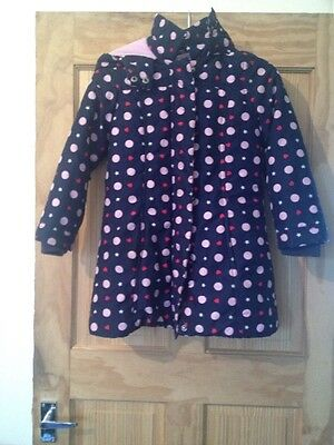 Girls Age 7-8 Years Purple Spotted Coat Blue Zoo