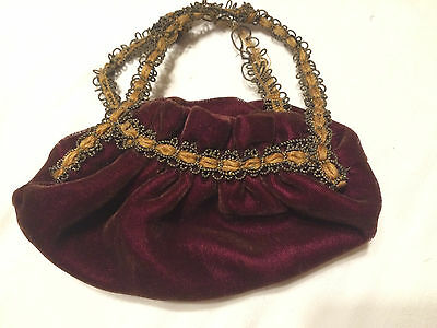 Antique Small Purse Bag Burgundy Velvet Gold Trim Hand Stitched