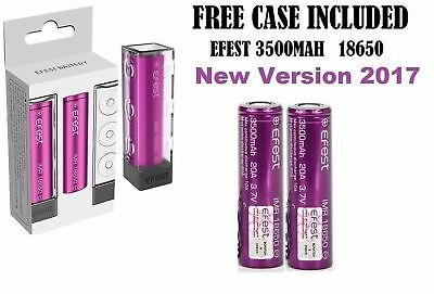 2 x 100% Genuine Efest IMR 18650 3.7v 3500mAh 20A BATTERY Flat  With Free Case