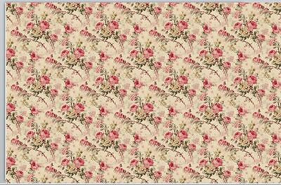 "Dollhouse Miniature Small Scale Computer Printed Fabric 1:12 Cotton 8x10.5""  #6"