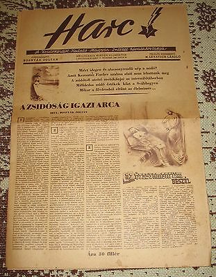 'Harc' hungarian anti semitic paper from 1944 No. 6.