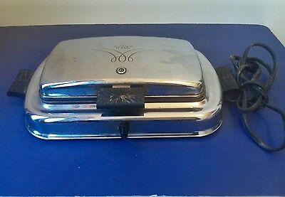 Vintage WESTINGHOUSE ELECTRIC WAFFLE IRON MAKER GRILL CHROME SG501