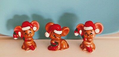 Vintage 1950's Lefton Christmas Santa's Helpers Mice With Candy,  X- H7069 JAPAN
