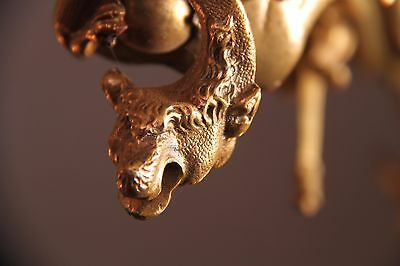 Vintage French Gothic Fantasy Winged Dragon/Griffin Bronze Castle Chandelier