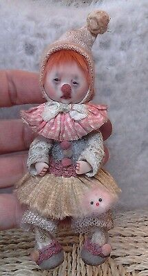*~OOAK, One Of A Kind Miniature Elfin TATTERED, AGED CLOWN Girl *Mae* *By Shell*
