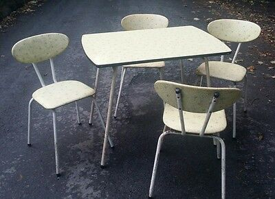 Vintage Retro 1950s Kitchen Table And Stacking Chairs Atomic style