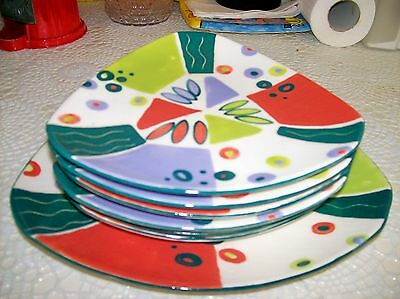 Set Of 6 Triangular Shaphand Painted Retro Side Plates With Larger Serving Plate