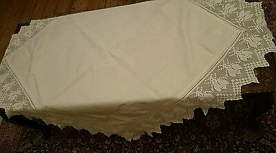 Stunning  Large Antique Linen Tablecloth