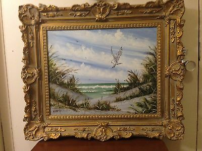Painting  Oil On Canvas Signed  Gil McCue Gold Gilt Frame 27x23 inches