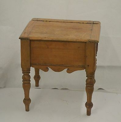 Antique English pine bedside table, formerly a wooden chamber pot chair/box
