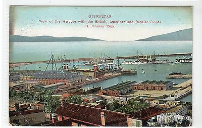 VIEW OF HARBOUR WITH THE SHIPS OF THREE NAVIES: Gibraltar postcard (C22936)