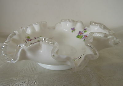 Vintage Fenton Glass Bon Bon Candy Dish Hand Painted by C.Shaffer