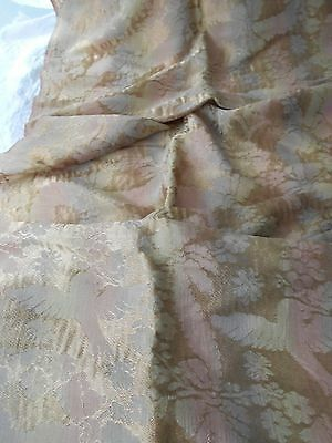 Antique Victorian Rainbow Silk Damask Fabric Curtain Panel Drape Doves Flying