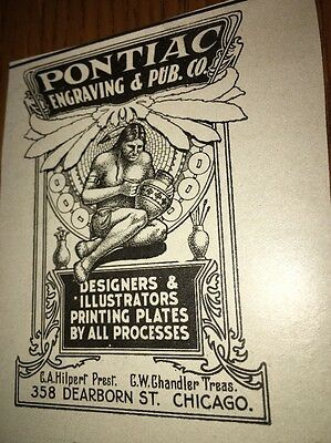 Pontiac Engraving Printing Illustrators 1907 Ad Indian Logo Chicago