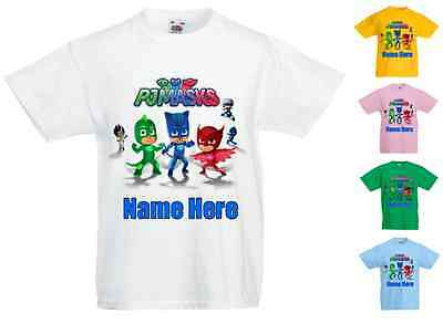 Childrens Kids Personalised Printed T-Shirt Various Colours - Pj Masks