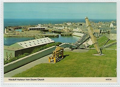 MACDUFF HARBOUR FROM DOUNE CHURCH: Banffshire postcard (C22394)