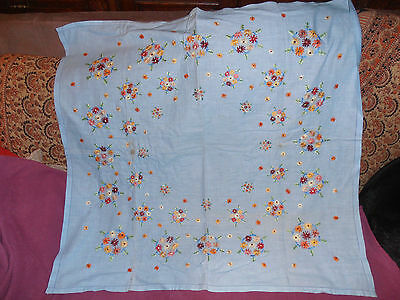 """Vintage hand embroidered blue small tablecloth, 32""""square, multicoloured flowers"""