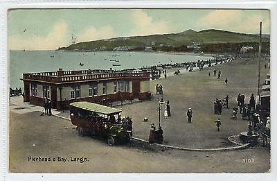 PIERHEAD & BAY, LARGS: Ayrshire postcard with early bus (C22725)
