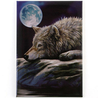 Lisa Parker Fridge Magnets Magnet Wolf On Rock With Moon Wicca Pagan - New