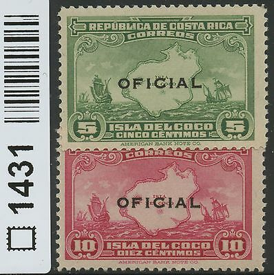 Costa Rica 1936 MLH Official Stamps | Scott O80-O81 | 1431