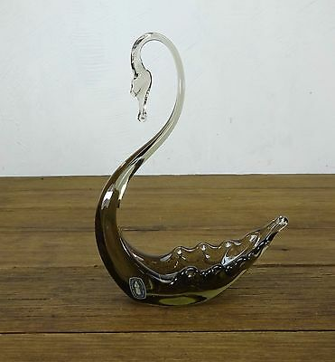 """Large Size Vintage Art Glass Whitefriars Made In England Swan Smoke Colour 8.5"""""""