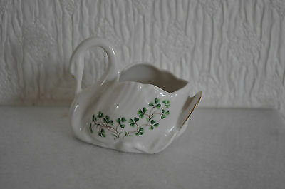 Small Porcelain  Swan  With Shamrocks,  'cre' Galway, Ireland