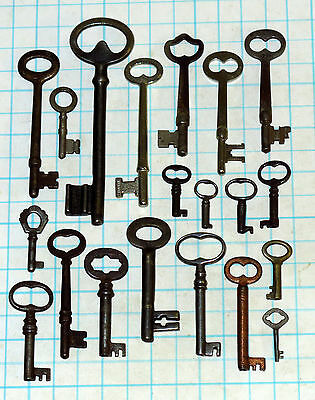 20 Genuine Antique Vtg old skeleton pass key lot cabinet barrel lock steampunk