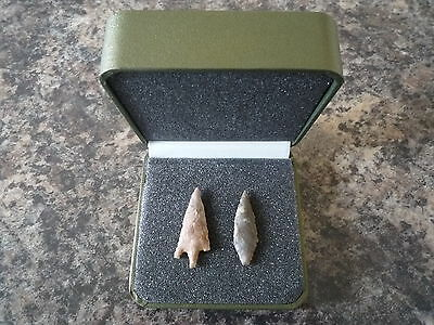 Neolithic Arrowheads x 2 in Display Case - 4000BC (Q134)