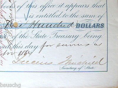 1864 Civil War Hero Lucius Fairchild ( Governor) Signed Pay Check N.f.lund Qmg