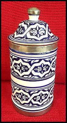 Lovely Moroccan Authentic Handpainted Ceramic And Metal Lidded Canister