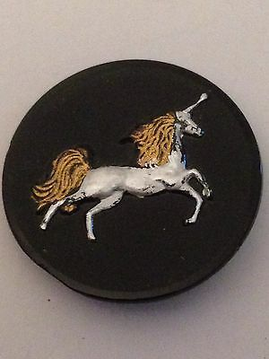 SCARCE -  LG. Painted Silver Black Glass Vintage Antique UNICORN Sewing Button