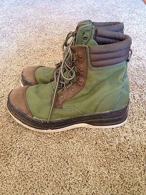 ORVIS Boots Green Canvas Felt Bottom Wader Boots Fly Fishing Boots Men's Size 10