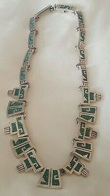 Vintage Taxco MEXICO Sterling Silver Turquoise Chip Collar Bib Style Necklace #2