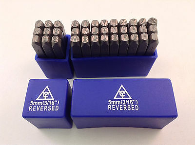 "Reversed 36pc 3/16"" 5mm Steel Letter & Number Stamp Punch Die Set"