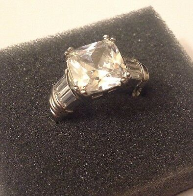 Sterling Silver White CZ Accent Baguette Size 8 Ring Hallmarked 925 DBJ Vintage