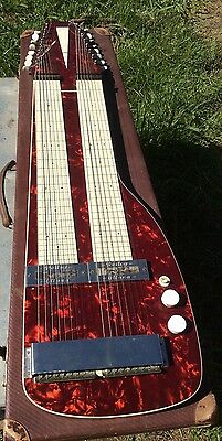 Vintage Rellog Gitona Double Lap Steel Guitar Cherry Red In Case