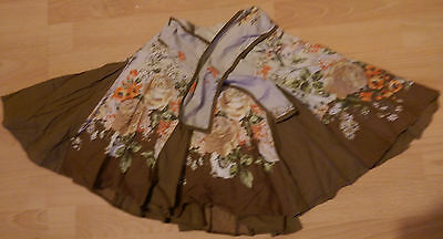 Next girls pleated Floral Brown Skirt Age 4 (Fit 5, 6)