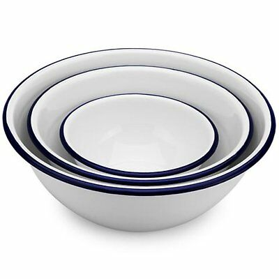 FALCON ENAMELWARE  |   Mixing Bowls Set of 3 - White with Blue Rim