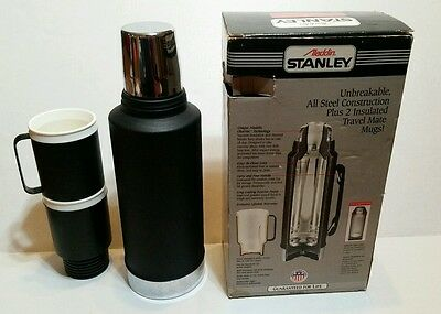 VINTAGE STANLEY ALADDIN THERMOS GIFT SET BLACK Box * Rare *