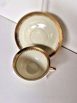 Royal Ivory Kpm Buckingham Footed Cup & Saucer White Gold Trim  Germany